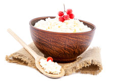 Cottage cheese in a bowl with a wooden spoon. Stock Photos