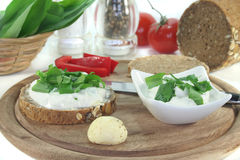 Cottage cheese bread with wild garlic Royalty Free Stock Images