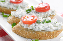 Cottage cheese bruschettas Stock Photos