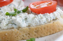 Cottage cheese bruschettas Stock Image