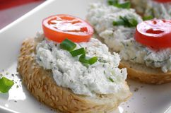 Cottage cheese bruschettas Stock Photography