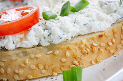 Cottage cheese bruschettas Royalty Free Stock Photo