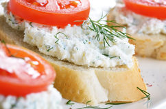 Cottage cheese bruschettas Royalty Free Stock Photography