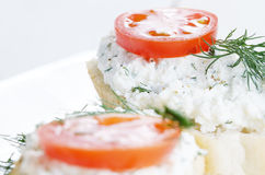 Cottage cheese bruschettas Stock Images