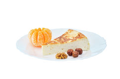 Cottage cheese cake with mandarin and nuts Stock Photography