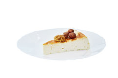 Cottage cheese cake with mandarin and nuts Royalty Free Stock Photography