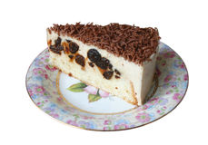Cottage cheese cake with prunes and chocolate Royalty Free Stock Photo