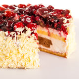 Cottage cheese cake red berries and almonds Royalty Free Stock Image