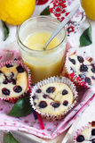 Cottage cheese cakes. With lemon curd Royalty Free Stock Photography