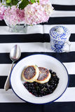 Cottage cheese cakes, russian syrniki with fried blueberries Stock Images