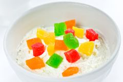 Cottage cheese with candied fruits Royalty Free Stock Photography