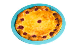 Cottage cheese casserole. Cottage cheese pie on a white background Royalty Free Stock Images