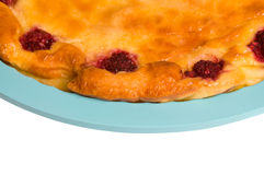 Cottage cheese casserole. Cottage cheese pie on a white background Royalty Free Stock Image