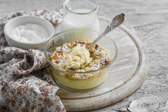 Cottage cheese casserole with apples in a glass bowl Royalty Free Stock Images