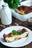 Cottage cheese casserole with candied fruit Stock Photo