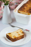 Cottage cheese casserole with candied fruit Royalty Free Stock Photos
