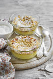 Cottage cheese casserole in glass bowls Royalty Free Stock Images