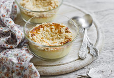 Cottage cheese casserole in glass bowls Stock Photo