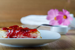 Cottage cheese casserole with raspberry jam Royalty Free Stock Photo