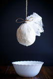 Cottage cheese in cheesecloth Royalty Free Stock Photography