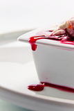 Cottage cheese with cherry jam Stock Photography