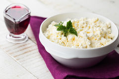 Cottage cheese and cherry jam. Royalty Free Stock Image