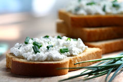 Cottage cheese and chives Stock Photos