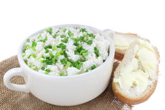 Cottage cheese with chives Royalty Free Stock Photo