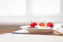 Cottage cheese, chocolate and strawberries Royalty Free Stock Photos