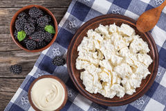 Cottage cheese on clay plate, sour cream and dewberry in bowls royalty free stock photo