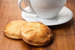 Cottage cheese cookies with cappuchino cup Royalty Free Stock Image