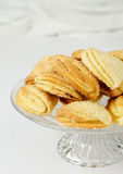 Homemade cottage cheese cookies. Cottage cheese cookies on a glass cake stand Royalty Free Stock Photo