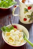 Cottage cheese with cornflakes Royalty Free Stock Images