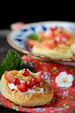 Cottage cheese cream tarts with berries and fruits Royalty Free Stock Photo