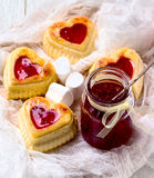 Cottage cheese cupcakes and raspberry jam stock image