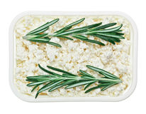 Cottage cheese (curd) with rosemary twig Royalty Free Stock Photos