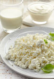 Cottage cheese and dairy products on white wooden table Stock Image