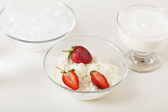 Cottage cheese dessert. Delicious cottage cheese with strawberry Royalty Free Stock Photo