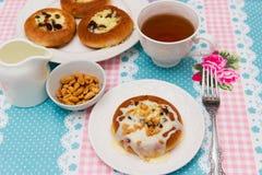 Cottage cheese dessert with salt peanut and condensed milk. Stock Photo