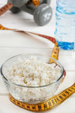 Cottage cheese diet. Sports nutrition stock photos