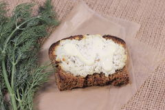 Cottage cheese with dill Stock Photos