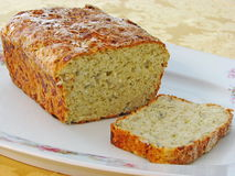 Cottage cheese and dill loaf. Freshly baked savoury loaf made with cottage cheese dill and onions Royalty Free Stock Photo