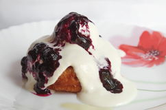 Cottage cheese donuts with sour cream and jam Royalty Free Stock Image