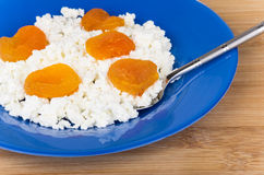 Cottage cheese with dried apricots Stock Photography