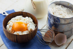 Cottage cheese, egg, flour. Royalty Free Stock Images