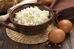 Cottage cheese and eggs Stock Photos