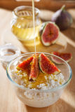 Cottage cheese with figs Stock Photos