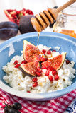 Cottage cheese, figs, pomegranate and honey Stock Images