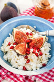 Cottage cheese, figs, pomegranate and honey Royalty Free Stock Images