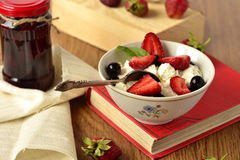 Cottage cheese with fresh berries Royalty Free Stock Images